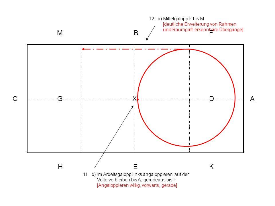 12. a) Mittelgalopp F bis M [deutliche Erweiterung von Rahmen und Raumgriff, erkennbare Übergänge]